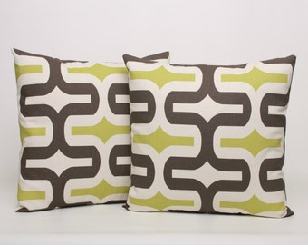 PAIR - Mantis Brown and Chartreuse Pillow Covers Designed for 16, 18, 20 or 22 inch standard inserts. Premier Prints Embrace Design