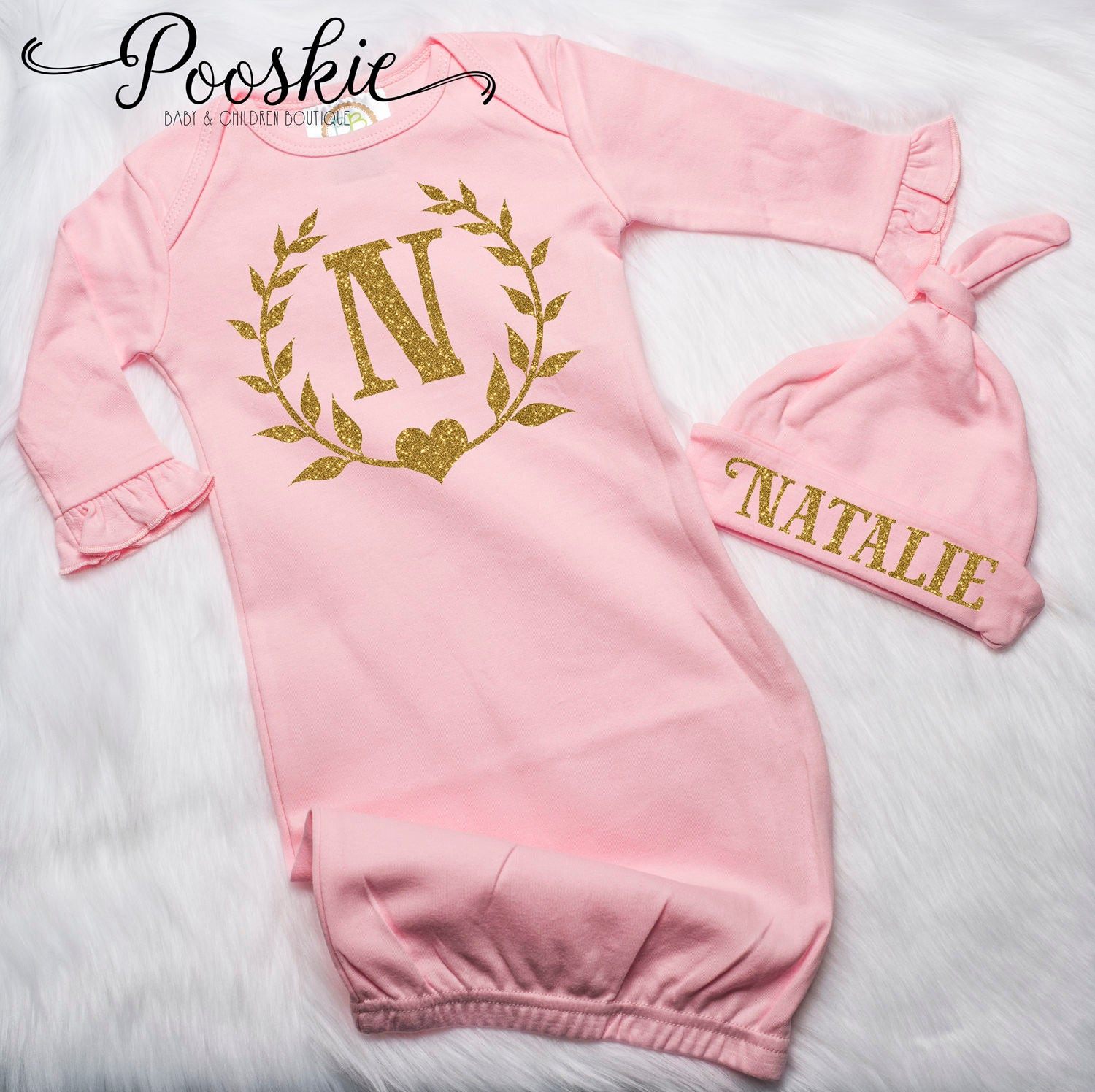 Newborn Girl Coming Home Outfit Personalized Pink & Gold Baby