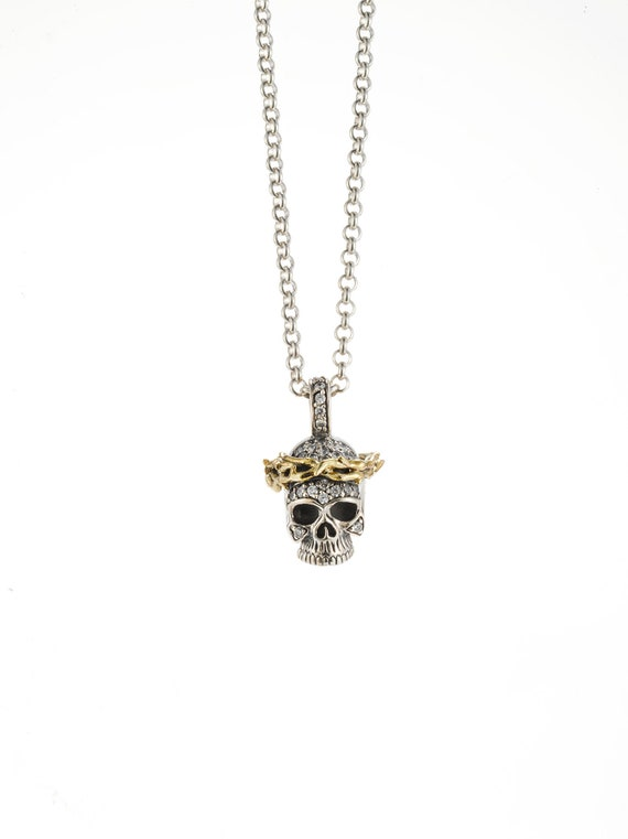 Crown of thorns skull with crystals pendant necklace aloadofball Images