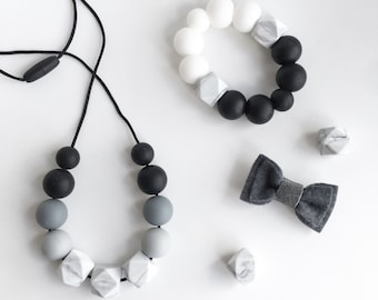 MARBLE OMBRE Necklace // Teething // Teething Necklace // Nursing Necklace // Silicone Beads // 100% Food Grade Silicone // Modern Jewellery