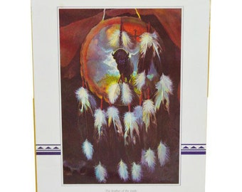 Vintage 1973 Native American Indian Dreamcatcher Print by Touraine 20 x 16