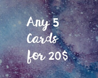 Greeting cards, 5 cards for 20,  5 cartes pour 20, pick your own cards, pack of 5 cards, choose your own cards