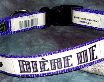 Adjustable Dog Collar from Recycled Choc Beer Co. Biere De Garde Beer Labels