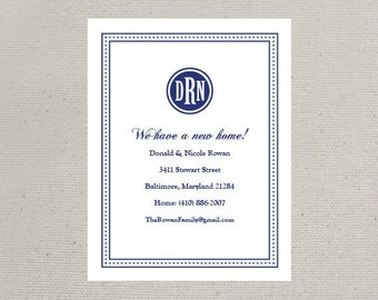 Change of Address, We've Moved, New Home, Monogrammed Announcements (Set of 10)