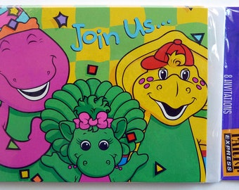 Barney & Friends Party Invitation Cards - Lot of 8 Vintage Party Invitations - Kid's Party Invitations - Dinosaur Party Invitations - 1996