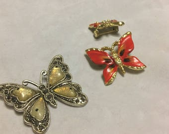 3 vintage 1980s butterfly brooches