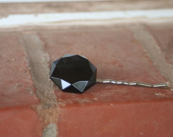 H50 Vintage Black Faceted Glass Upcycled Hair Pin