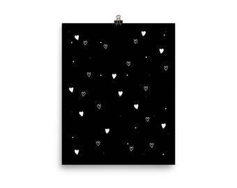 Poster for kids, Hearts, kids room and nursery deco