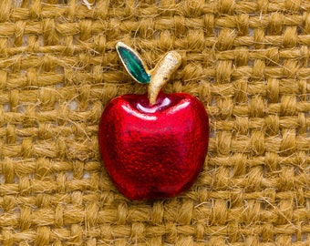 Red Apple Enamel Vintage Lapel Pin Green Gold Shimmery Finish Button Vtg Pin 7AN