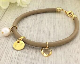 Dainty Gold Filled Bracelet - Gold Filled Bracelet - Dainty Gold Bracelet - Simple Leather Bracelet - Dainty Heart Bracelet - Heart Bracelet
