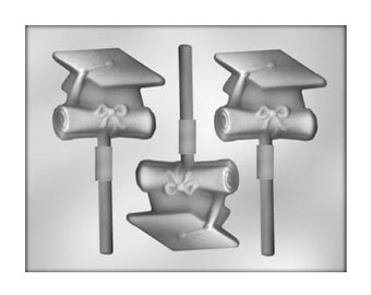 Cap and Diploma Graduation Chocolate Sucker Mold - Party Favors - Baking Candy Making Party Supplies