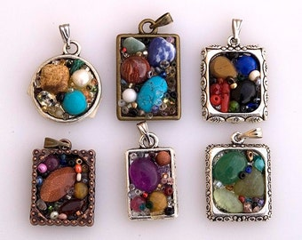 Mosaic pendant necklace treasury chest gemstone mosaic jewelry frame necklace colorful pendant framed stone pendant made in Israel GP