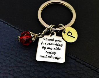 Wedding gift, Initial keychain, Bridal Shower gift for Mom, Maid of Honor gift, Bridesmaid keychain, wedding keepsake, Thank you Jewelry