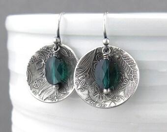 Small Green Earrings Emerald Earrings Green Crystal Earrings Silver Earrings Bohemian Jewelry Silver Jewelry Gift Idea for Her - Contrast