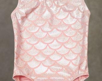Gymnastics Leotards | Dance Leotards - Pink Coral Mermaid leotard for toddler girls sizes 18 months, 2T,3T,4,5,6,7,8,10,12
