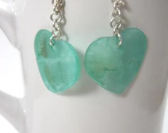 Blue-Green Capiz Shell Heart Earrings