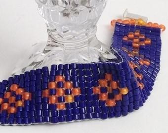 Blue and Orange Woven Wrap Bracelet