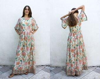 1970s Paisley Floral Indian Cotton Gauze Flutter Sleeve Maxi Dress | Pastel Block Print India Dress | Ethnic Bohemian Festival Dress