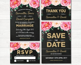 Floral Wedding Invitation Set. Pink and Gold Glitter Watercolor Flowers Invite. Chalkboard. Save the Date. RSVP. Thank You Card. FLO1