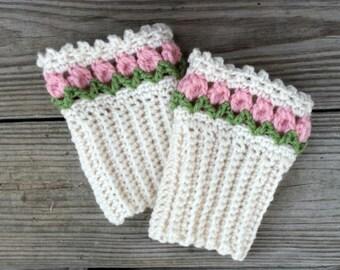 Tulip Boot Toppers (cuffs) crochet pdf pattern