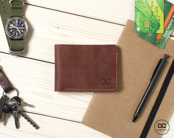 Distressed leather card wallet, custom bifold wallet, men card wallet, bifold wallet men, card wallet leather, personalization