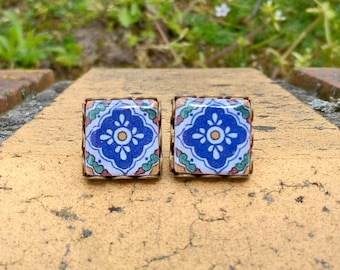 Mother earrings gift, Mexican tiles earrings, Mexican jewelry, Talavera tiles, Spanish earrings, boho earrings, boho jewelry, Mexico gift