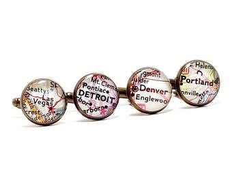 CUSTOM Vintage Map Cufflinks. You Pick Two Cities Worldwide. City Location Cufflinks. Boss's Day Gifts. Father's Day Gifts. Valentine's Day