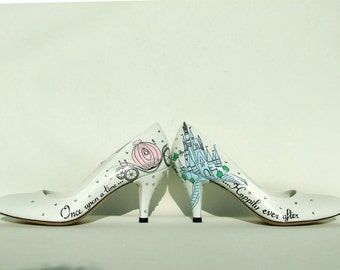 Custom Wedding Shoes, Hand painted Bridal Shoes, Happily Ever After