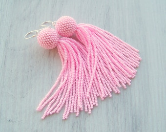 Beaded tassel earrings - Statement Earrings - Light pink earrings - Dangle earrings - Long beadwork tassel earrings - Fringe earrings