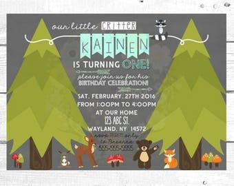 Woodland Critter Birthday Invitation