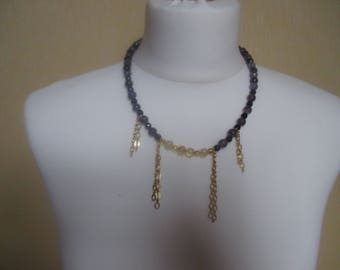This necklace has black quartz, amethyst and citrine.