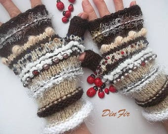 Women Size M 20% OFF Ready To Ship Gloves Bohemian Accessories Boho Hand Knitted Fingerless Mittens Warm Wrist Warmers Winter Striped 1173