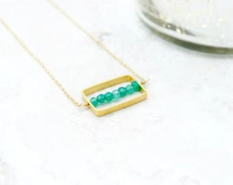 gold bead bar necklace, gemstone necklace, geometric necklace, geometric jewelry, birthstone jewelry, gemstone jewelry, minimalist jewelry
