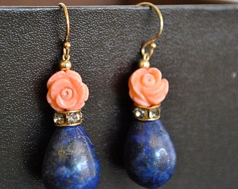 BLUE  LAPIS  and   CORAL rose  dangling earrings
