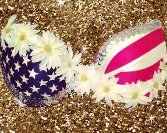 American Flag daisy Bra Top