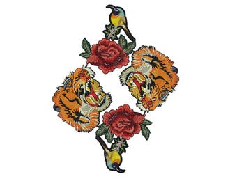 Embroidered Tiger Animal Patch Applique, Bulk Mix Patches Badges for Fashion Crafts 5 pcs
