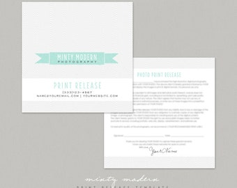 Print Release Photography template - Modern Minty by Summit Avenue - INSTANT DOWNLOAD