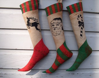 Primitive Christmas Stocking Trio