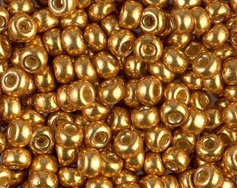 8/0 Miyuki Duracoat Galvanized Yellow Gold Seed Beads - 15 grams - 4733 - Miyuki 8-4203 Gold Seed Beads - Miyuki 4203 Duracoat Gold