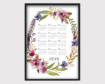 Calendar 2018 - watercolor flowers calendar - office calendar - wall art print - peony flowers