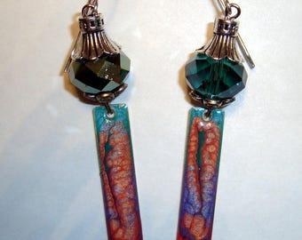 Enamel Bar Earrings. Iridescant Crystal Beads, Artisan Earrings, Gypsy Earrings, Dangle Earrings, Long Drop Earrings, BOHO earrings