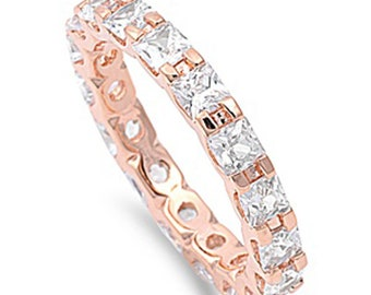 Women Silver 14K Rose Gold Plated Princess CZ Rose Tone Eternity Ring Band 3MM(SNRC104539-GR)