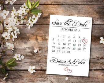 ON SALE Printable Save the Date Calendar Postcard Template/Wedding Save the Date Card/Digital Download/Save the Date Announcement Template