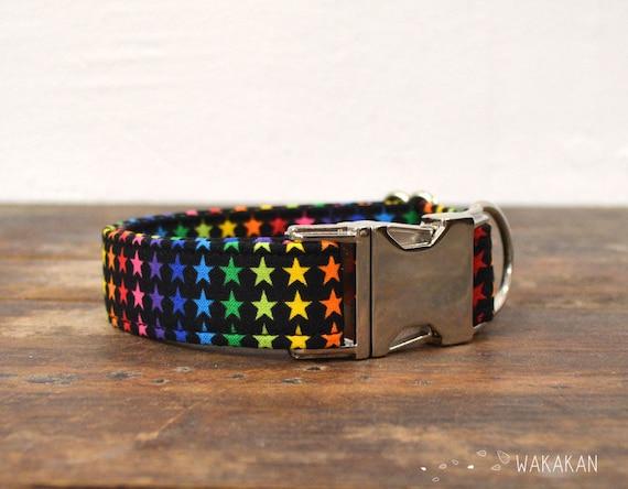 Superstar collar adjustable. Handmade with 100% cotton fabric. Colorful star, rainbow pattern Wakakan