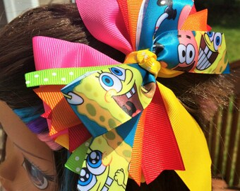 "5"" SpongeBob Square Pants Stacked Hair Bow. Spongbob and Patrick pink and yellow Boutique Stacked hairbow. Colorful Spongebob Hairbow"