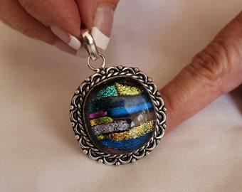 Dichroic Fused Glass Pendant!