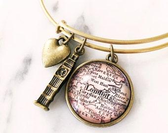 London Map Charm Bracelet - Travel Jewelry - Westminster - UK - Great Britain - Big Ben - Travel - Wanderlust - Vacation
