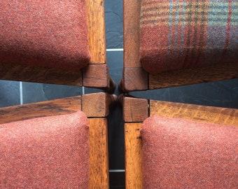 Four Dining Chairs Burnt Orange Tartan Vintage Wooden Wool