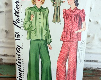 1940s Simplicity 2-piece Pajama Sewing Pattern Size 18