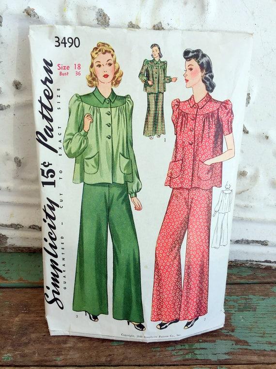 Schnittmuster der 1940er Einfachheit 2-teiliges Pyjama Größe